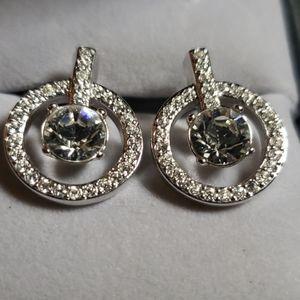 Swarovski pierced earrings,  petite yet stately